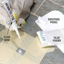 pour filler powder into the hole and level it off with the enclosed smoothing paddle hold the floor bond right over the filler powder
