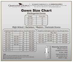 Cap And Gown Measurement Chart Graduation Gown Materials Size Color Charts For Grad Supplies