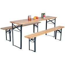 beer garden table. Amazon.com: 3 PCS Beer Table Bench Set Folding Wooden Top Picnic Patio Garden: Kitchen \u0026 Dining Garden N