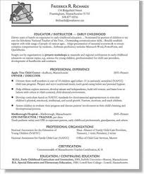 Education Resumes Examples Amazing Early Childhood Teacher Resume Preschool Teacher Resume Sample