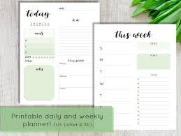 Daily And Weekly Planner Pages Printable Daily Planner Printable Weekly Planner Green Planner Daily Planner Inserts A5 Planner