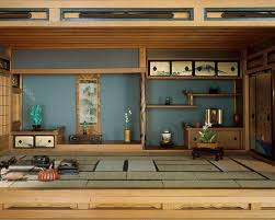 japanese living rooms black sofa beside glass window low wooden profile bed floor seats combine orange