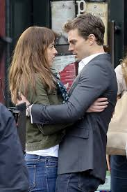 jamie dornan says he s not naked in fifty shades of grey ny dornan and johnson on set in vancouver
