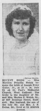 Miss Marilyn Priscilla Welch married Joseph Peter Galus Jr on July 24, 1954  in West Endicott NY - Newspapers.com