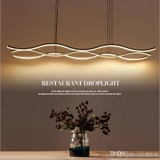 minimalism modern wave led pendant light chandelier aluminum hanging pendant chandelier lamp fixtures for dining kitchen room bar ac85 265v ceiling light