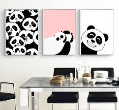 modern kawaii animal pandas in the world wall art picture kids baby room decor painting canvas art print poster nursery unframed in painting calligraphy  on baby room wall art painting with modern kawaii animal pandas in the world wall art picture kids baby