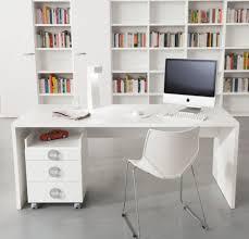 Slim Computer Desk Furniture Slim White Glossy Wooden Finishing For Minimalist