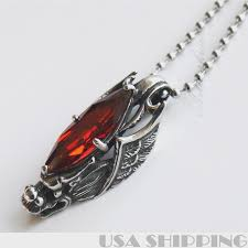 cool 316l stainless steel wing dragon pendant red stone