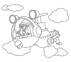 Agent Oso Riding Whirly Bird Coloring