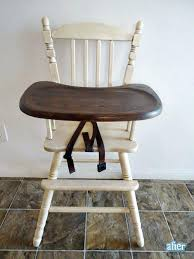 vintage wooden high chair tray loving this two toned high chair makeover i like the idea vintage wooden high chair tray