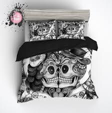 Skull Bedroom Curtains Pencil Sketch Rose Kissing Man And Wife Sugar Skull Duvet Bedding