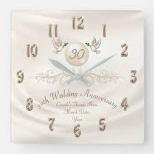 pearl 30th wedding anniversary gifts your text square wall clock