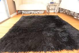 8 x 10 faux fur rug plush black mongolian large sheepskin rectangle area rug 639725426903