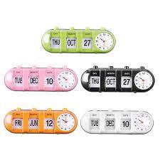 retro manual flip desk alarm clock digital quartz day date calendar display home decor