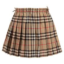 Burberry - Beige Checked Cotton Skirt ...