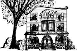 attic clipart black and white.  Black Black And White Illustration Of House With Tree Woman In The Attic With Attic Clipart And White 3