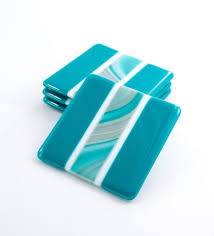 fused glass drink coasters  set of   teal home decor  modern