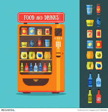 Vending Machine Free Drink Unique Vending Machine With Food And Drink Packaging Set Vector