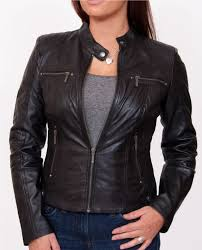 womens black leather biker jacket jasmine front