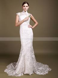 high neck allover lace mermaid wedding dress with backless detail