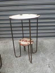 Industrial Furniture Recycled Metal High Bar Utility Side Table Rustic Oil Can