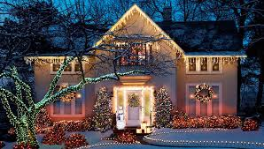 beautiful outdoor lighting. Beautiful Outdoor Christmas Lighting Designs With Snowman And White Wooden Framed Windows Also Pretty Colorful Adorned In Trees