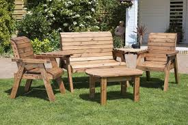 uk made fully assembled heavy duty wooden garden companion seat set with coffee table 4 seater