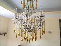 teardrop glass chandelier smoked crystal 5 light