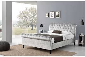grey upholstered sleigh bed. Contemporary Upholstered Sleigh Bed Design: With Large Glass Wall Grey Paint