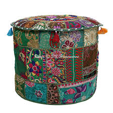 Embroidered <b>Ottoman Stool Pouf</b> Cover Turquoise Green Floral ...