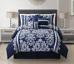 11 piece taylor navy white bed in a bag w 600tc cotton sheet set com