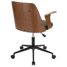 office chair back view. Vinka Modern Black + Walnut Office Chair - Back View