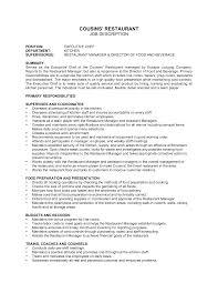 Restaurant Job Description Resume Ideas Collection Resume Job