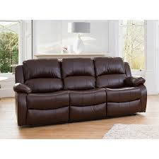 oakham three seater bonded leather sofa brown