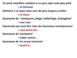 8 un petit mamifère similaire à un porc épic mais plus petit le hérisson similaire à un lapin mais avec de plus longues oreilles le lièvre synonyme de