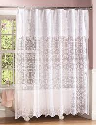 elegant white lace bathroom shower curtain w attached valance liner new