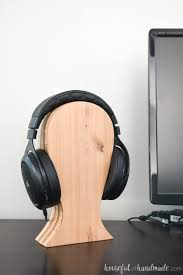 computer desk with headphones on a diy headphone stand