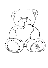 Online Coloring Pages A Heart Coloring Teddy Bear With A Heart