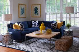 navy blue sectional sofa. L Shaped Blue Navy Sectional Sofa With Accent Pillows Wood Top Coffee Table Metal Base