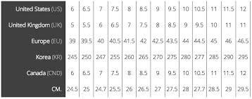 63 Correct Asics Shoe Size Chart Vs Nike