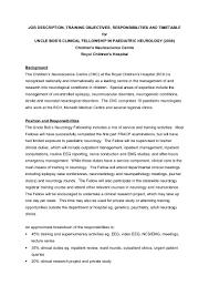 On Job Training Objectives Job Description Training Objectives Responsibilities And