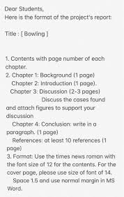 Dear Students Here Is The Format Of The Projects