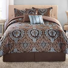 What size is a queen comforter Walmart Walmart Mainstays 7piece Jacquard Bedding Comforter Set Victoria Walmartcom