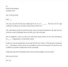 Performance Appraisal Letter Format Doc Sample Co