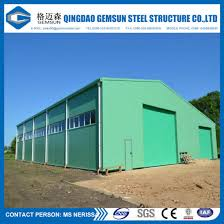 painted steel structure warehouse shed with corrugated sheet