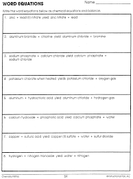 chemistry worksheet writing chemical equations jannatulduniya com