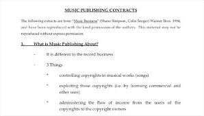 Music Contract 5 Music Contract Samples Templates Publishing Template