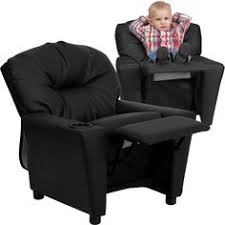 flash furniture black leather kids recliner with cup holder