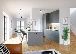 Engineered Wood Flooring In Kitchen Kitchen Simplistic Kitchen White Walls Potted Tree Red Oak