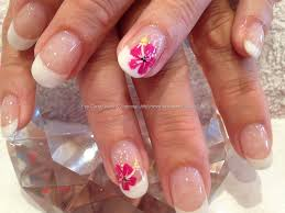 White acrylic backfill with freehand nail art, I love the ...